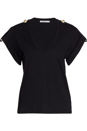 Derek Lam Women's Lynne V-Neck Epaulette T-Shirt - - Size Medium