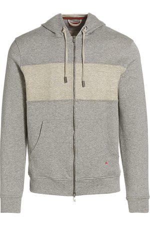 ISAIA Men's Linen Full-Zip Hoodie - Light Grey - Size XXL