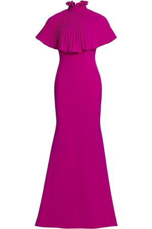 THEIA Women's Gabriella Pleated Cape Gown Dress - Orchid - Size 16