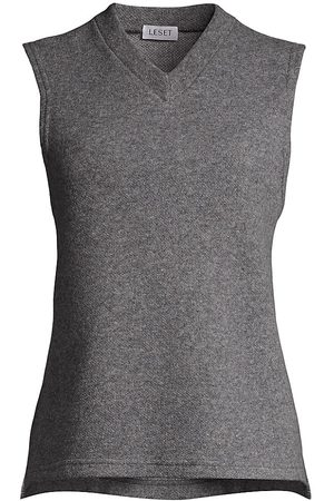 Leset Women's Sienna V-Neck Sweater Vest - Heather Grey - Size Small