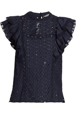 VERONICA BEARD Women's Jie Ruffle Eyelet Top - Navy - Size 8