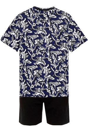 Hom Men's 2-Piece T-Shirt & Shorts Pajama Set - Navy Print - Size Small
