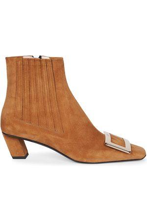 Roger Vivier Women's Belle Vivier Suede Ankle Boots - Cognac - Size 11