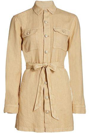 L'Agence Women's Samantha Linen Safari Jacket - Sand - Size Large