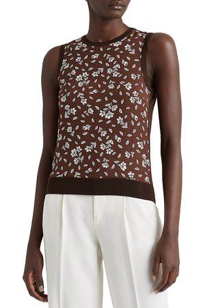 Ralph Lauren Women's Floral Wool-Silk Sleeveless Sweater - Bright - Size Medium
