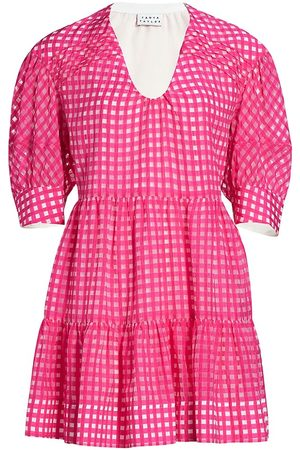 TANYA TAYLOR Women's Cayla Grid Mini Dress - Fuchsia Transparent - Size XS