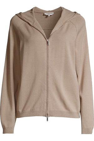 Lafayette 148 New York Women's Saddle Zip Front Hoodie - Smoked Taupe - Size XL