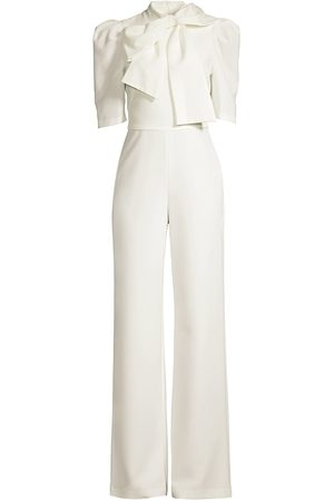 Black Halo Women's Ara Bow Puff-Sleeve Jumpsuit - Pearl - Size 12