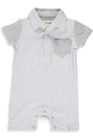 Me & Henry Baby's Micro Stripe Polo Romper - Grey - Size 18 Months