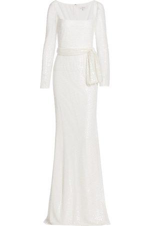 Badgley Mischka Women's Beaded Long-Sleeve Gown - Ivory - Size 14