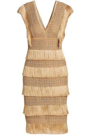 PATBO Women's Fringe Midi Sheath Dress - Almond - Size 4