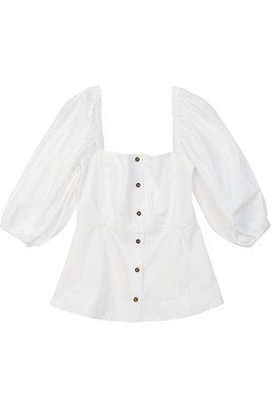 Ganni Women's Off-The-Shoulder Cotton Poplin Shirt - Bright - Size 4