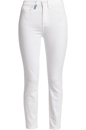 7 for all Mankind Women's High-Rise Tri-Tone Pocket Skinny Ankle Jeans - - Size Denim: 34