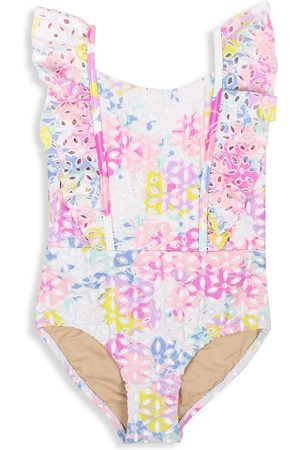 Shade Critters Baby Girl's & Little Girl's Floral Eyelet One-Piece Swimsuit - Size 5
