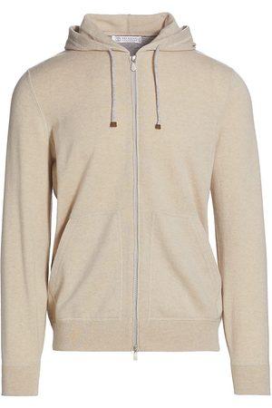 Brunello Cucinelli Men's Cashmere Zip Hoodie - Sand - Size 46