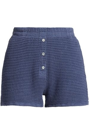 Donni Women's Waffle Knit Shorts - Indigo - Size Medium