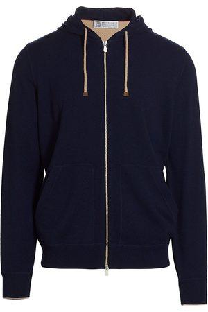 Brunello Cucinelli Men's Cashmere Zip Hoodie - Navy - Size 44