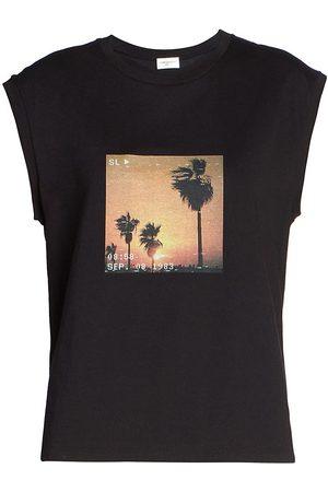 Saint Laurent Women's Cap-Sleeve Graphic T-Shirt - Noir - Size Medium