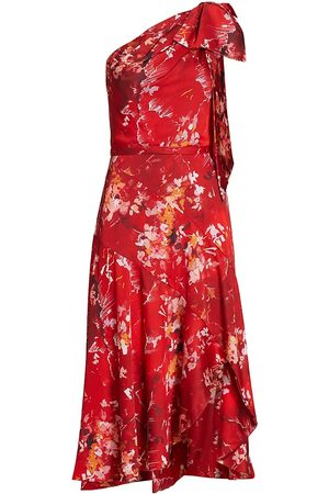 THEIA Women's Sarah Satin One-Shoulder Dress - Brush Stroke Floral - Size 8