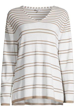 Lafayette 148 New York Women's Striped Lurex V-Neck Sweater - Smoked Taupe Multi - Size XL