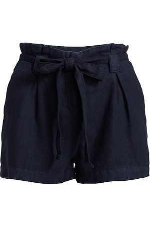 L'Agence Women's Hillary Paperbag-Waist Linen Shorts - Marine - Size Denim: 29
