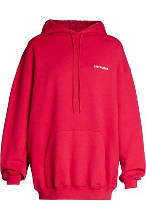 Balenciaga Women's Logo Oversized Hoodie - Raspberry - Size XL