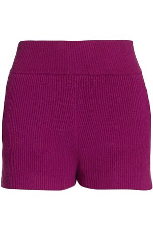 Helmut Lang Women's Rib-Knit Shorts - Plum - Size Medium