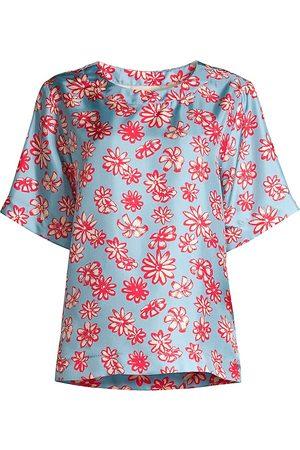 MOMONÍ Women's Roma Silk Floral Blouse - Rosso Azzuro - Size 10