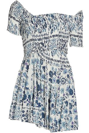 Poupette St Barth Women's Soledad Off-The-Shoulder Floral Tier Ruffle Mini Dress - Foulard - Size Medium