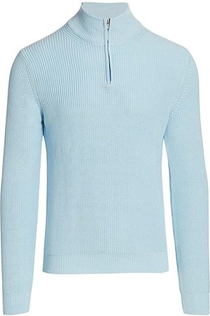 Saks Fifth Avenue Men's COLLECTION Solid Quarter-Zip Sweater - Iced Aqua - Size Large