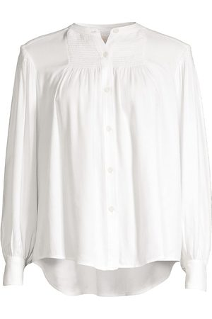 REBECCA TAYLOR Women's Twill Smocked Button-Up Blouse - Milk - Size XS