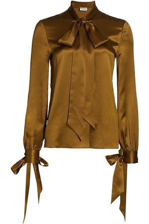 Saint Laurent Women's Tie-Detail Silk Blouse - Mordore - Size 2