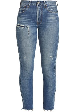 Moussy Women's Hammond High-Rise Skinny Distressed Jeans - - Size Denim: 29