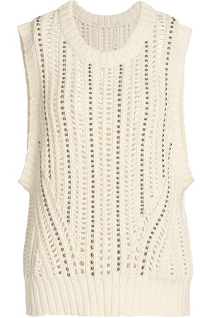 Munthe Women's Twin Crochet Wool-Blend Sweater Vest - Nature - Size 8