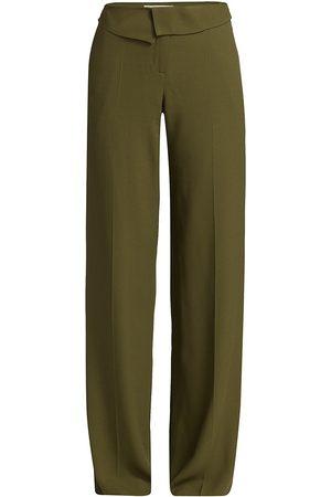 Jason Wu Women's Soft Wide-Leg Crepe Pants - Army - Size 6