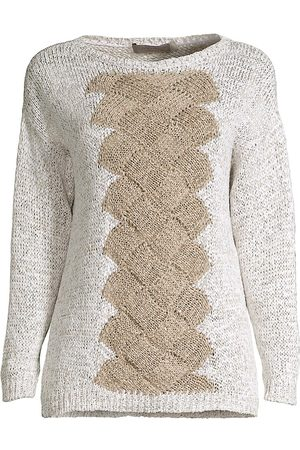 D.EXTERIOR Women's Basketweave Cabled Sweater - Sand - Size Medium