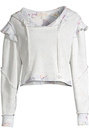 LOVESHACKFANCY Women Hoodies - Women's Ciel Ruffle Cotton Hoodie - Aqua Reflections - Size Small