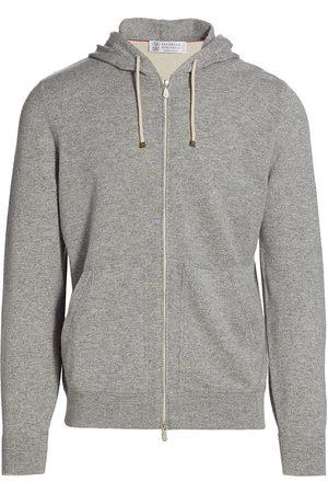 Brunello Cucinelli Men's Cashmere Zip Hoodie - Grey - Size 44