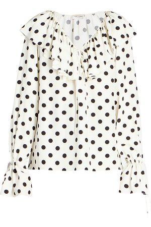 Saint Laurent Women's Ruffled Silk Polka Dot Blouse - Multi - Size 12