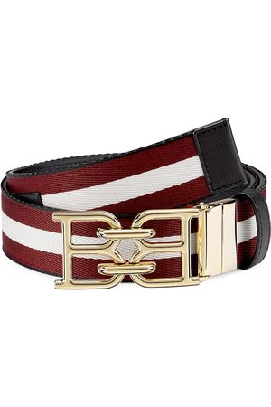 Bally Men's Striped Web Belt - Bone - Size 42