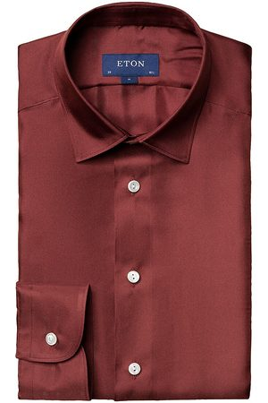 Eton Men's Slim-Fit Textured Solid Dress Shirt - - Size 17.5