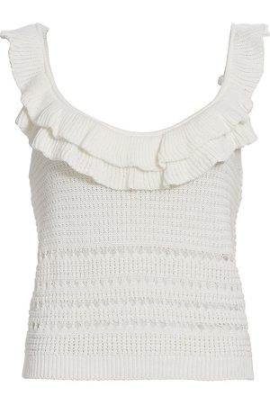 7 for all Mankind Women's Crochet Ruffle Camisole Top - Ecru - Size Small