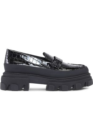 Ganni Women's Croc-Embossed Patent Leather Lug Sole Loafers - - Size 10