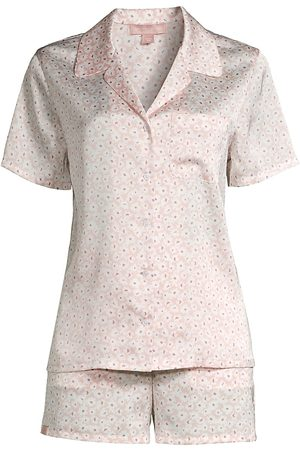 Barefoot Dreams Floral Print Satin Shorts Pajama Set - Rose Mist Disty - Size XL