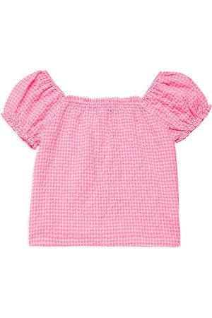 Design History Girl's Gingham Short-Sleeve Crop Top - Neon - Size 14