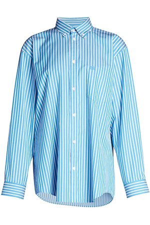 Balenciaga Women's Light Striped Shirt - Azure - Size 10