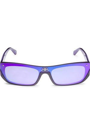 Balenciaga Men's Extreme 99MM Rectanglular Sunglasses - Violet