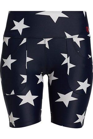 R13 Women's Star Patch Pocket Biker Shorts - Navy Star - Size XL