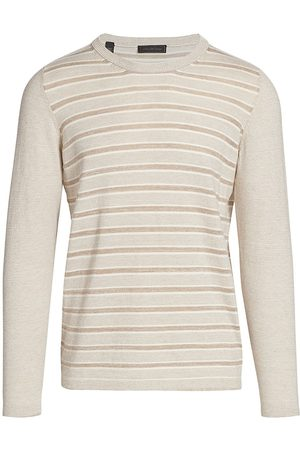 Saks Fifth Avenue Men's COLLECTION Contrast Stripe Crew Sweater - Safari Combo - Size Small
