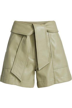 JONATHAN SIMKHAI Women's Mari Vegan Leather Tie-Waist Shorts - Eucalyptus - Size 12